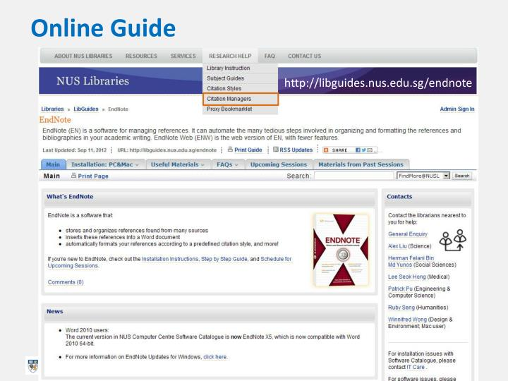 Online guide