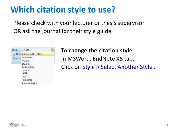 Which citation style to use?