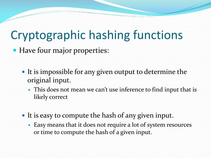 Cryptographic hashing functions