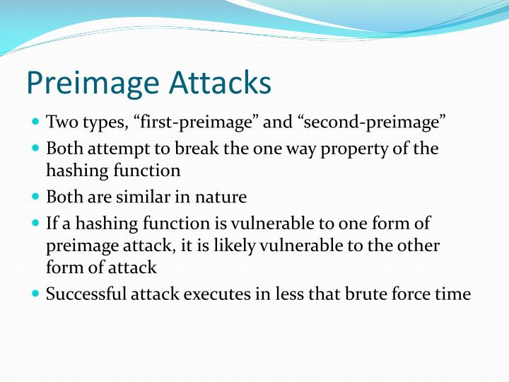 Preimage Attacks