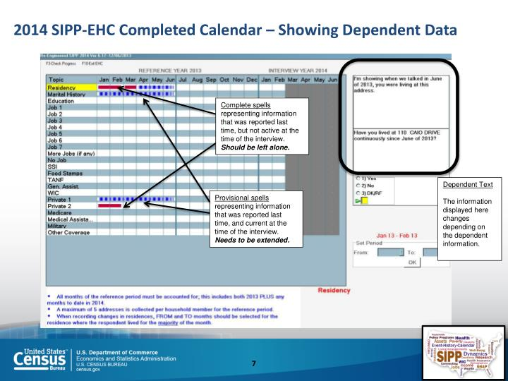 2014 SIPP-EHC Completed Calendar – Showing Dependent Data