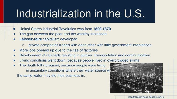 Industrialization in the u s1
