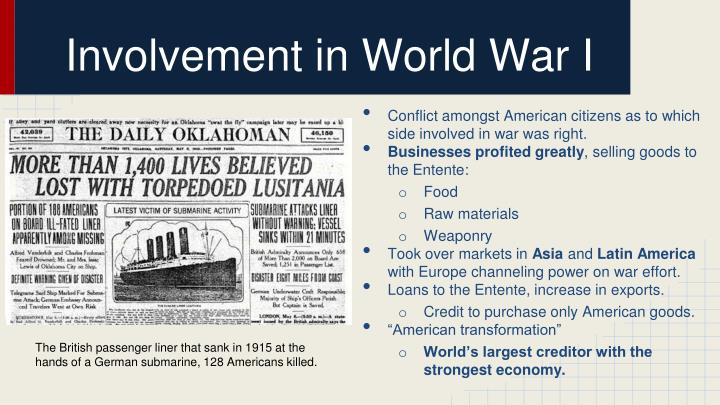Involvement in World War I