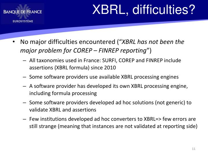 XBRL, difficulties?