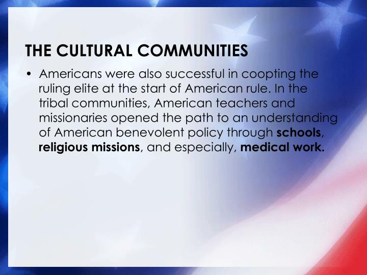 THE CULTURAL COMMUNITIES
