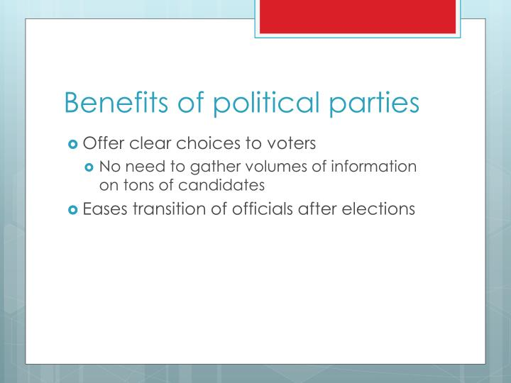 Benefits of political parties