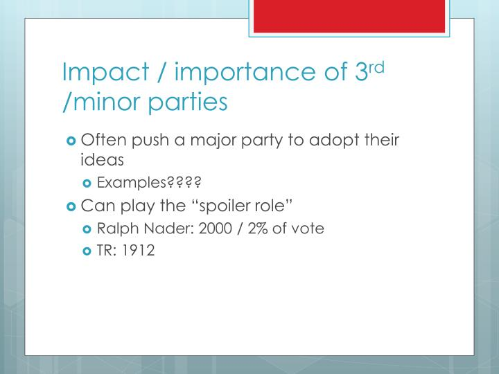 Impact / importance of 3