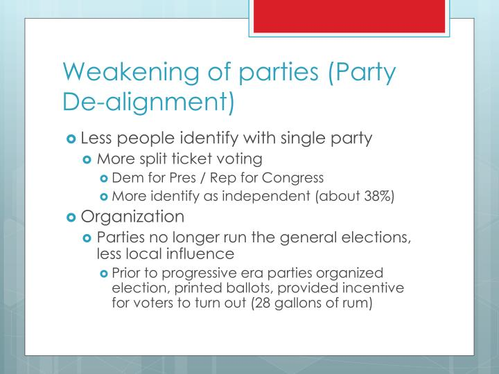 Weakening of parties (Party De-alignment)