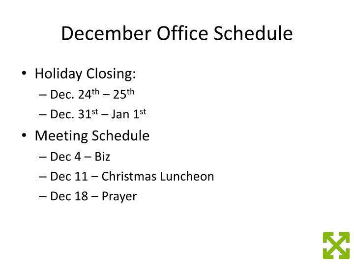 December Office Schedule