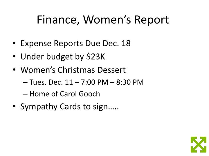 Finance, Women's Report