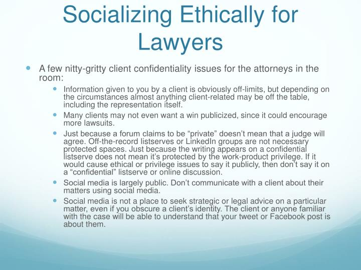 Socializing Ethically for Lawyers