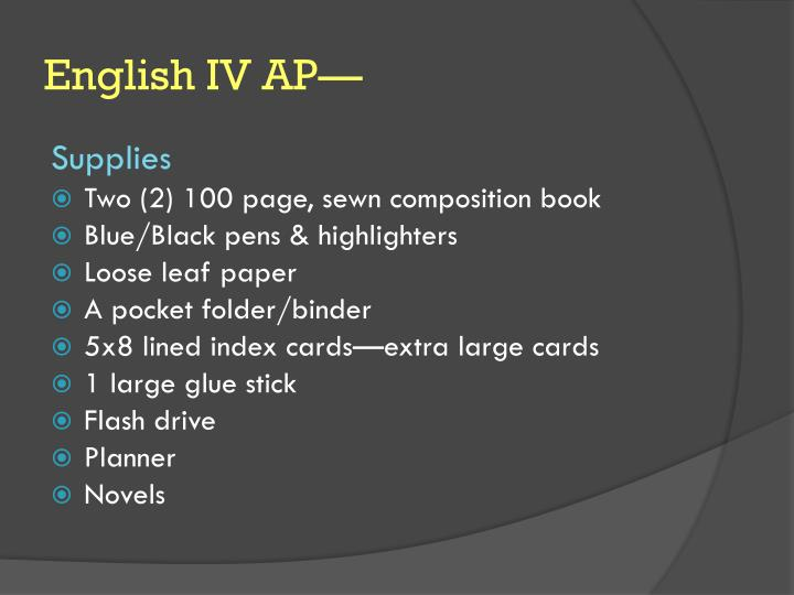 English IV AP—