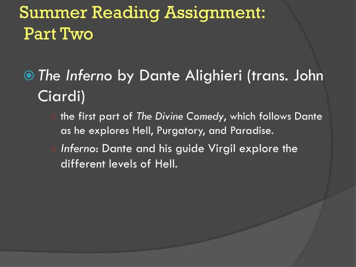 Summer Reading Assignment: