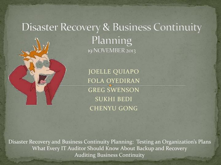 Disaster recovery business continuity planning 19 november 2013