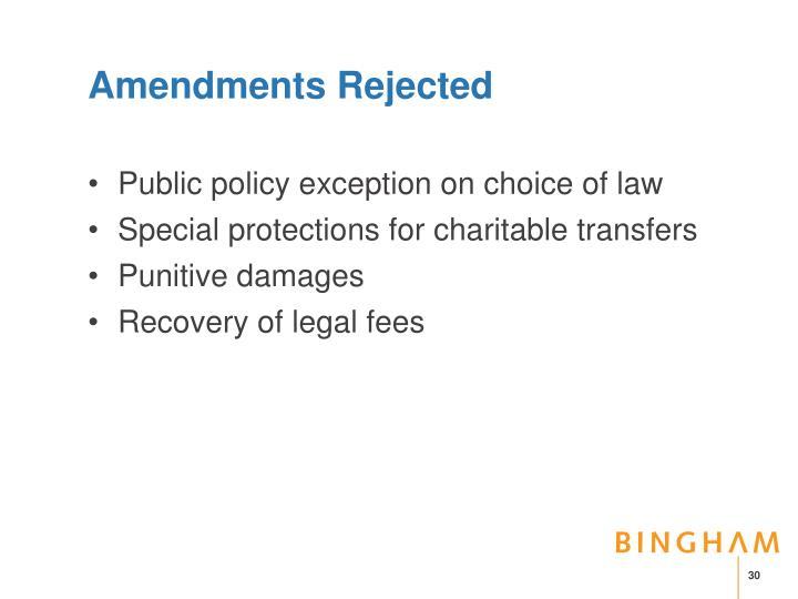 Amendments Rejected