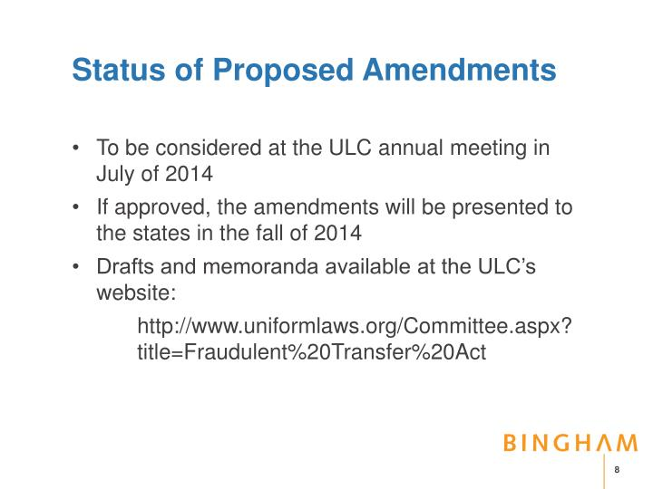 Status of Proposed Amendments