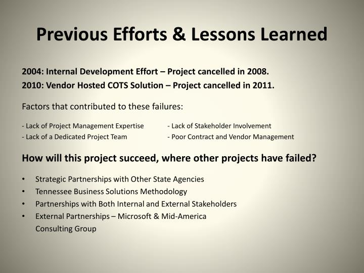 Previous Efforts & Lessons Learned