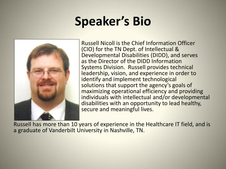 Speaker's Bio