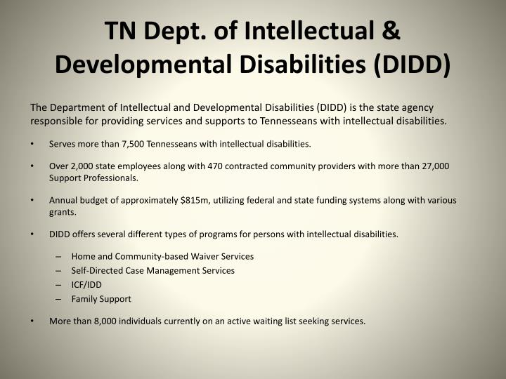 Tn dept of intellectual developmental disabilities didd