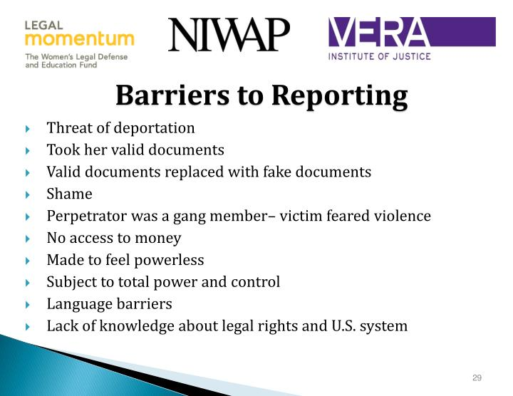 Barriers to Reporting