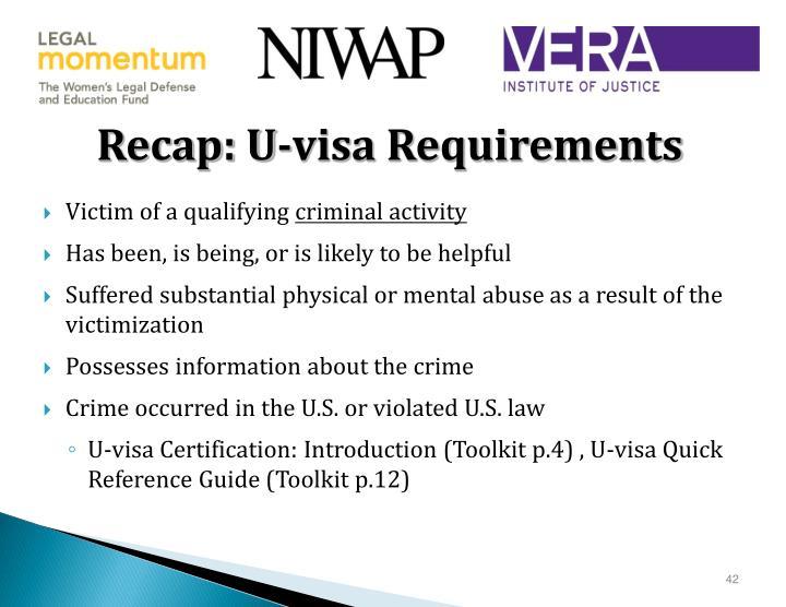 Recap: U-visa Requirements