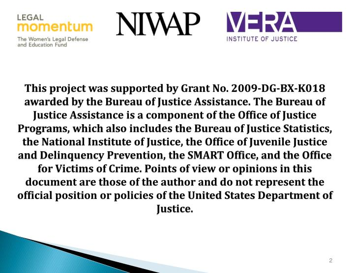 This project was supported by Grant No. 2009-DG-BX-K018 awarded by the Bureau of Justice Assistance. The Bureau of Justice Assistance is a component of the Office of Justice Programs, which also includes the Bureau of Justice Statistics, the National Institute of Justice, the Office of Juvenile Justice and Delinquency Prevention, the SMART Office, and the Office for Victims of Crime. Points of view or opinions in this document are those of the author and do not represent the official position or policies of the United States Department of Justice.