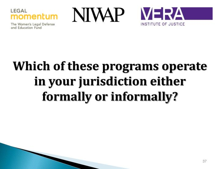 Which of these programs operate in your jurisdiction either formally or informally?