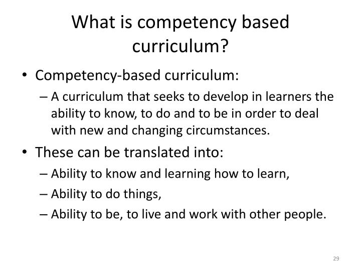 What is competency based curriculum?