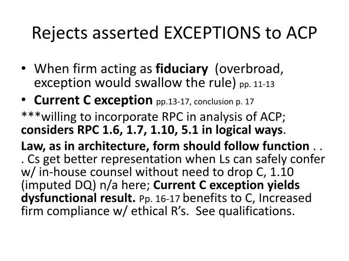 Rejects asserted EXCEPTIONS to