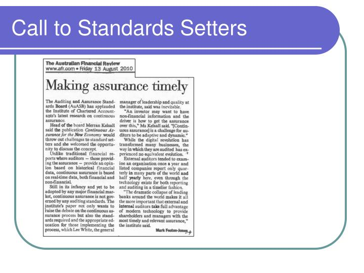 Call to Standards Setters