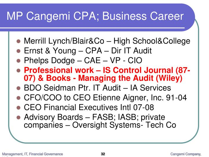 MP Cangemi CPA; Business Career