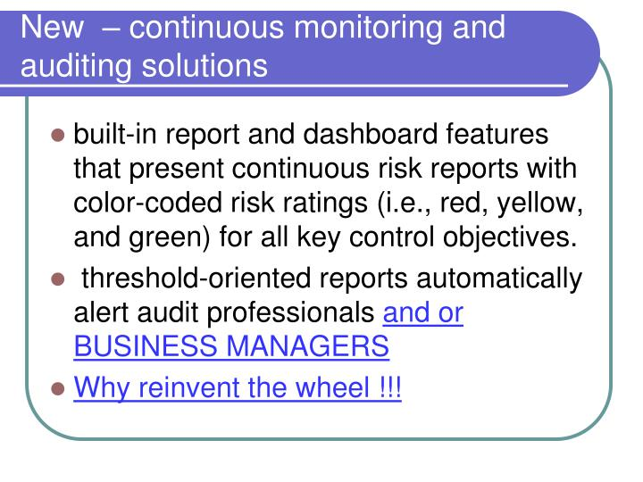 New  – continuous monitoring and auditing solutions