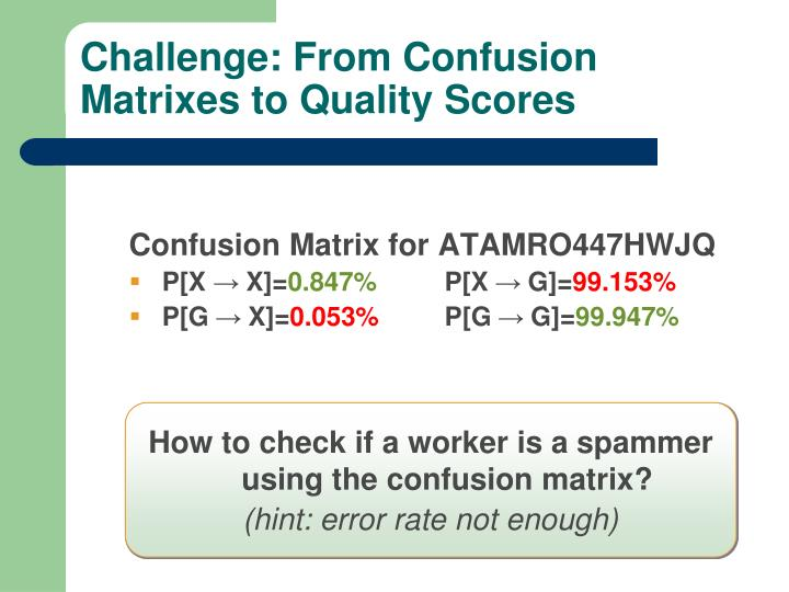 Challenge: From Confusion Matrixes to Quality Scores