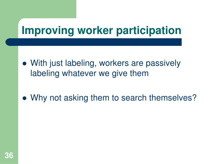 Improving worker participation