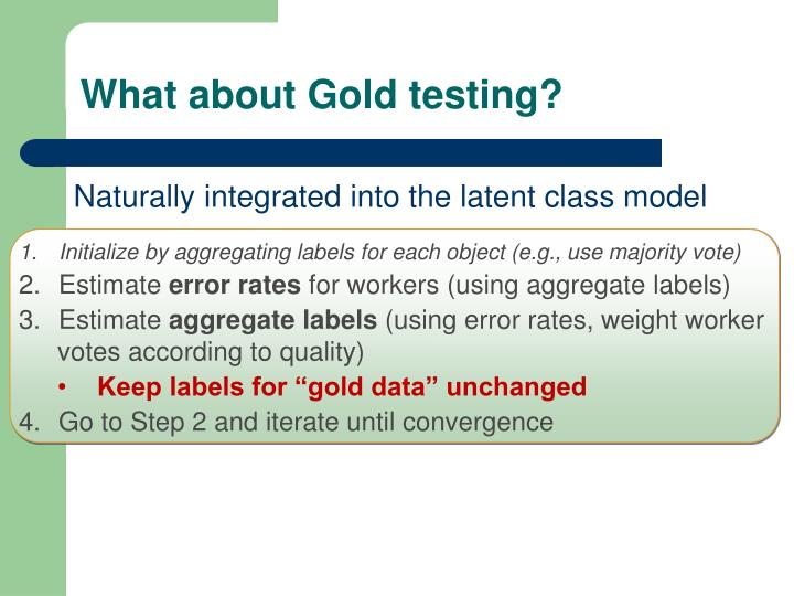 What about Gold testing?