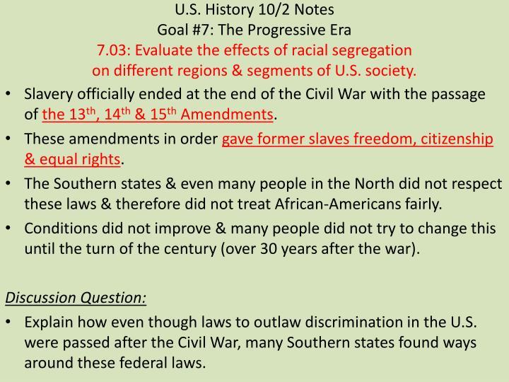 U.S. History 10/2 Notes