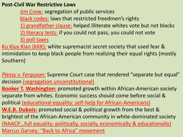 Post-Civil War Restrictive Laws