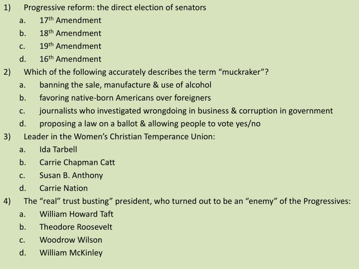 Progressive reform: the direct election of senators