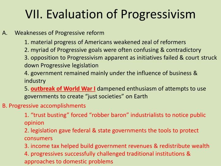 VII. Evaluation of