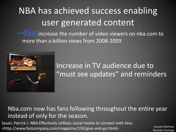 NBA has achieved success enabling user generated content