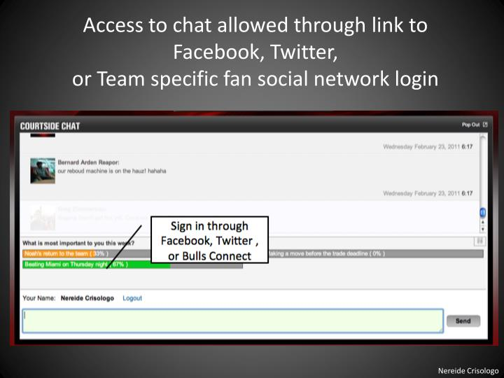 Access to chat allowed through link to