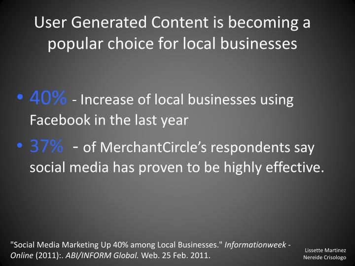 User Generated Content is becoming a popular choice
