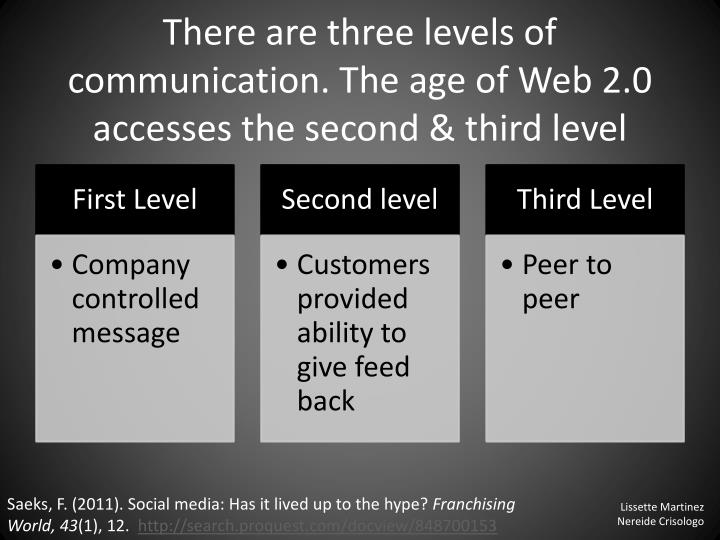 There are three levels of communication the age of web 2 0 accesses the second third level