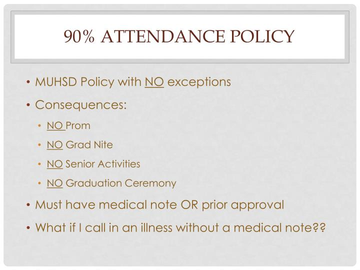 90% Attendance policy