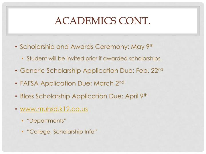 academics cont.