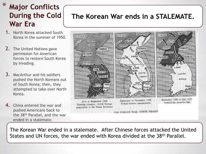 The Korean War ends in a STALEMATE.