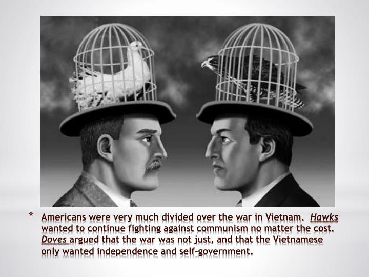 Americans were very much divided over the war in Vietnam.