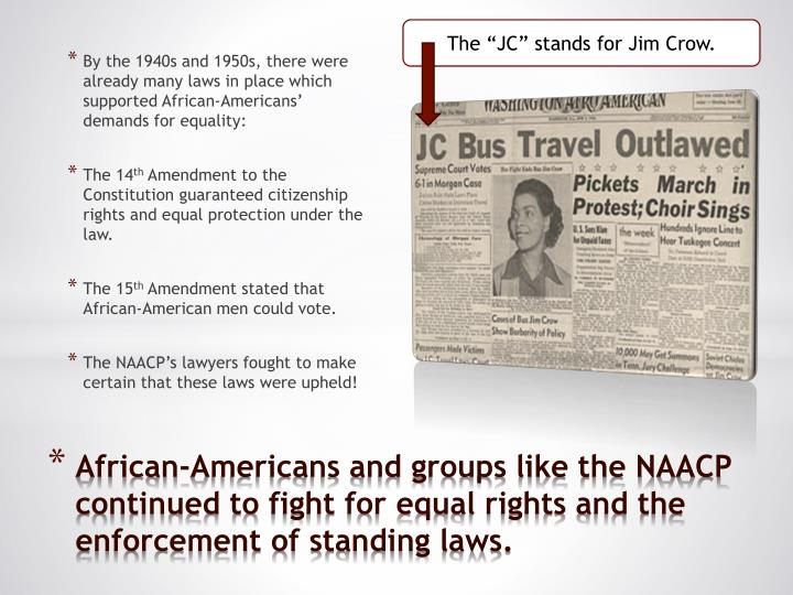 """The """"JC"""" stands for Jim Crow."""