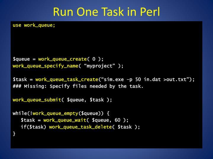 Run One Task in Perl
