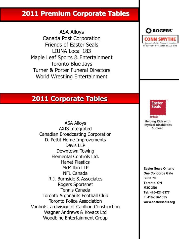 2011 Premium Corporate Tables